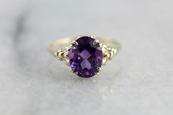 Amethyst Cocktail Ring in The Floral Iris Setting by Elizabeth Henry