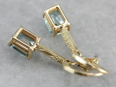 Stunning Art Nouveau and Modern Era Blue Zircon Earrings