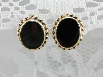 Timeless Studs: Black Onyx Vintage Screw Back Stud Earrings
