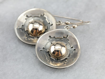 Mix Metal Modernist Drop Earrings