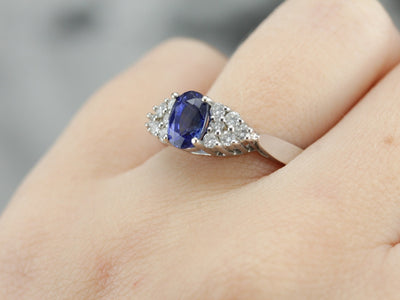 Sapphire and Diamond Cluster White Gold Ring