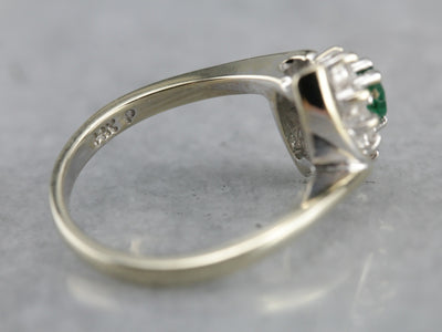 Vintage Emerald Diamond Halo White Gold Ring