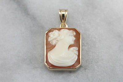 Unusual Cameo Pendant, Retro Era, Victorian Revival