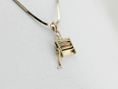 Vintage Laundry Wringer Charm in Yellow Gold