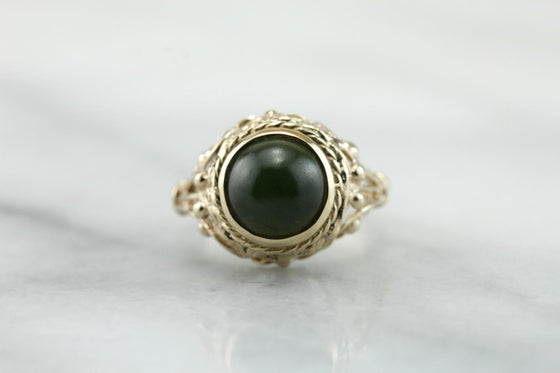 Mid-Century Dark Green Jade Cocktail Ring  QX7KQ3