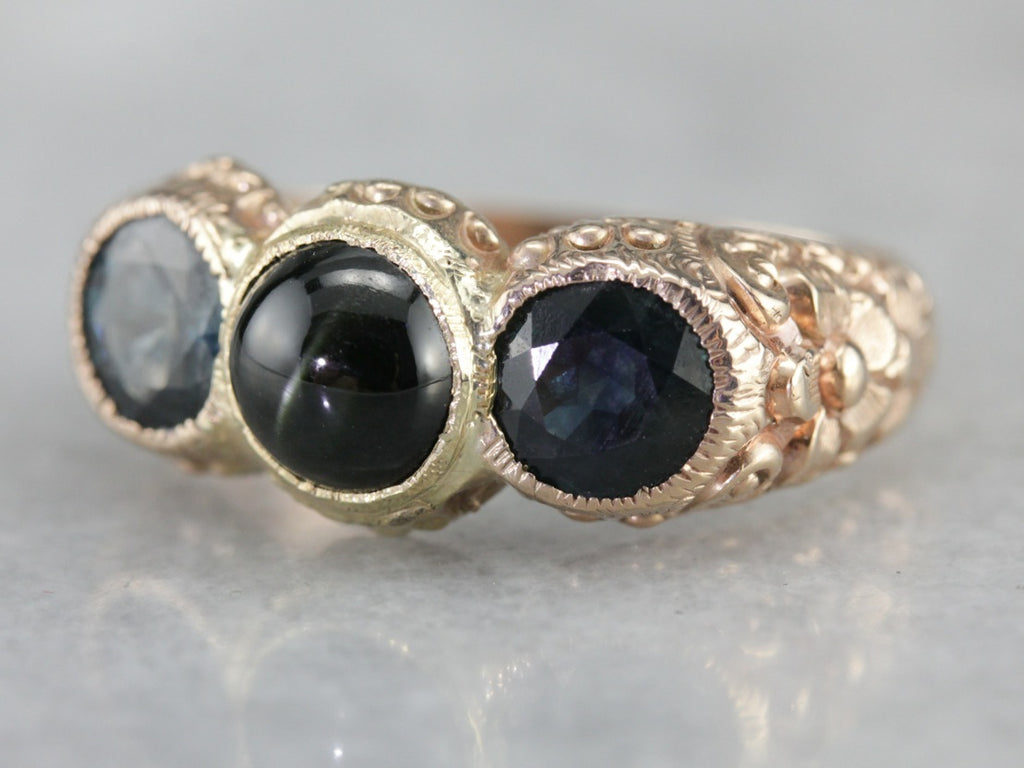 Victorian Ornate Kornerupine and Sapphire Gold Ring