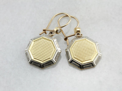 Art Deco Era Cufflink Conversion Earrings, Art Deco Drop Earrings