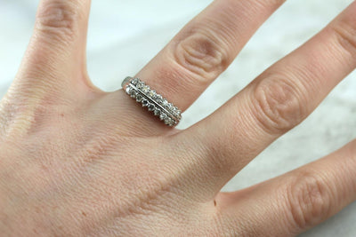 Double Diamond: Modern Band for Wedding or Stacking Ring