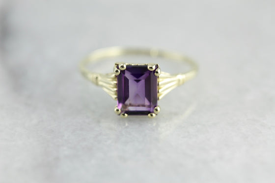 Amethyst and Green Gold Hannah Cocktail Ring from The Elizabeth Henry Collection