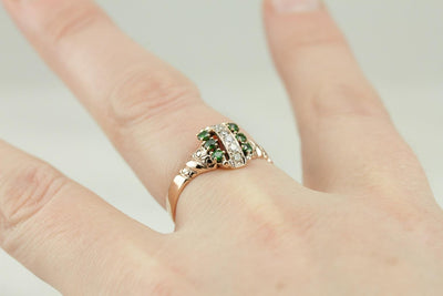 Diamonds and Lime: Antique Green Garnet and Diamond Dinner Ring