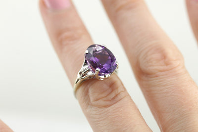 White Gold Amethyst Cocktail Ring