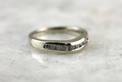 Curved Diamond Band in White Gold, Wedding Ring