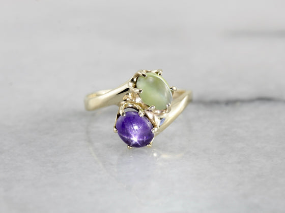 Star Sapphire and Chrysoberyl Bypass Ring in Yellow Gold