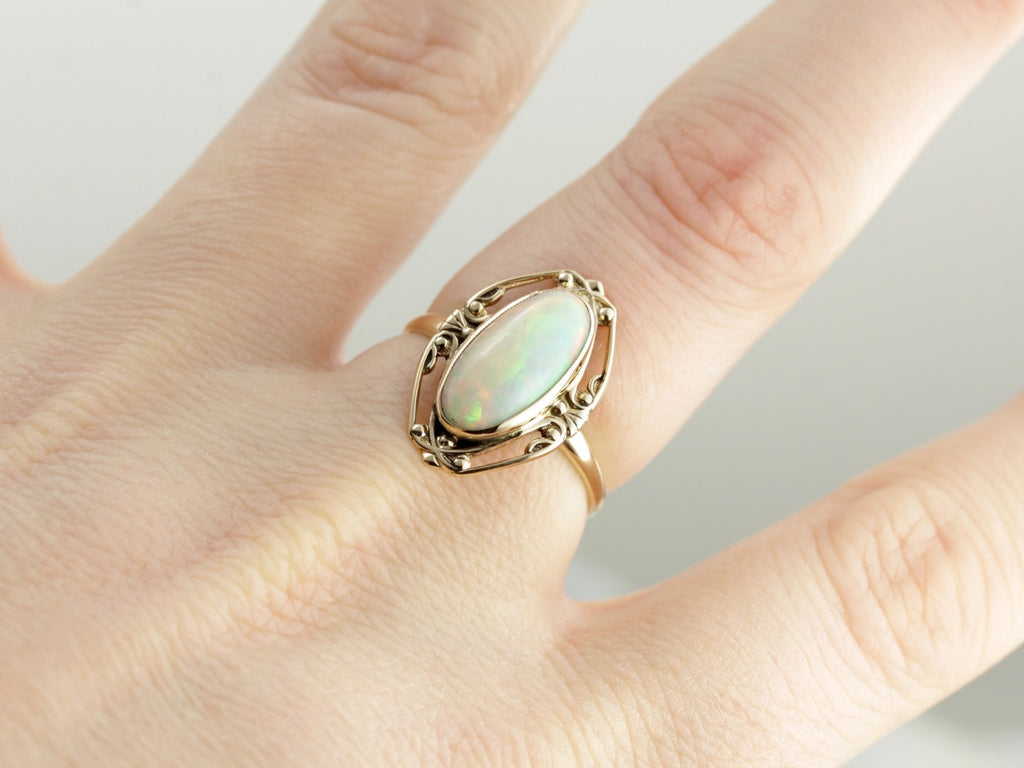 Vintage Opal Cocktail Ring, Beautiful Filigree Frame
