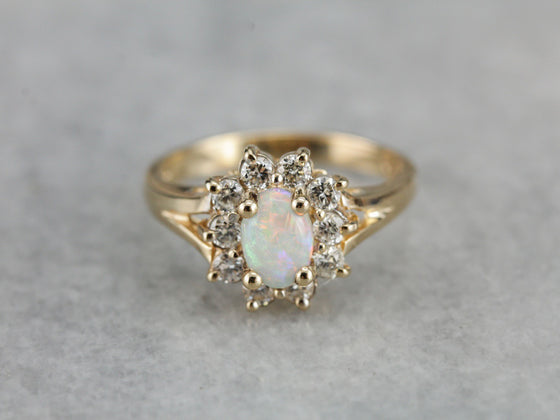 Copy of RESERVED/SOLD: Payment 1: Timeless Australian Opal and Diamond Halo Ring