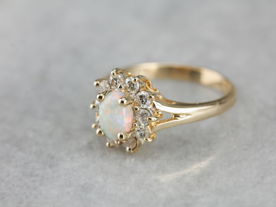 Copy of RESERVED/SOLD: Payment 3: Timeless Australian Opal and Diamond Halo Ring