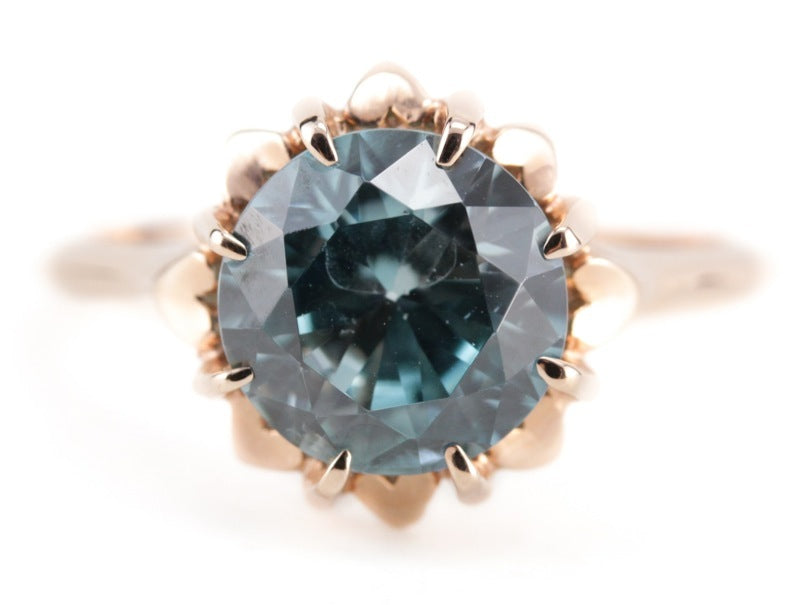 Blue Zircon and Rose Gold Eleanor Ring by Elizabeth Henry