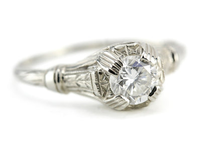Art Deco Diamond Engagement Lamprey Ring from the Elizabeth Henry Collection