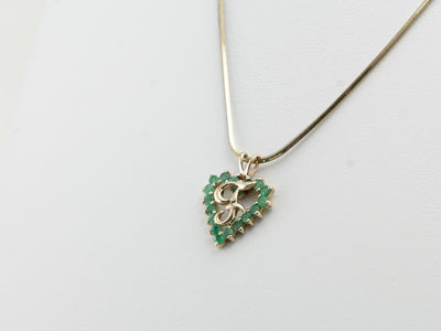 F Monogram Pendant with Emerald Heart Halo