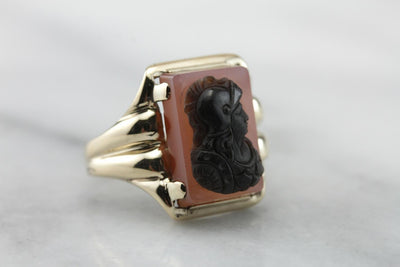 Carnelian Carved Cameo Statement Ring  NA86RL