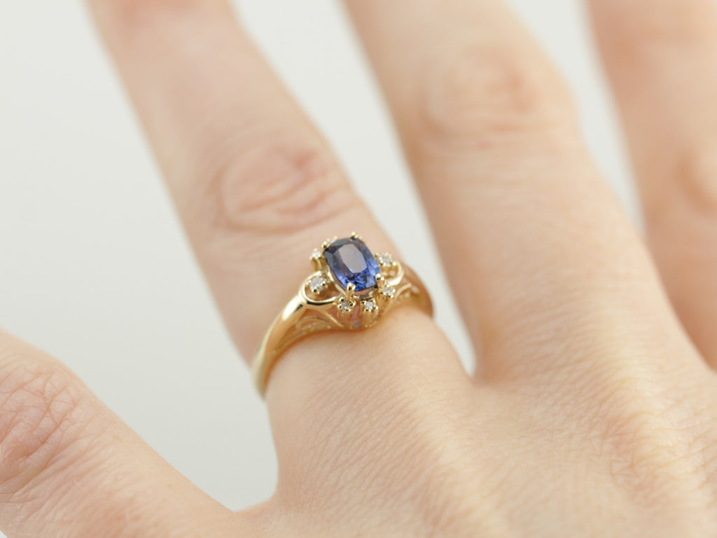 The Syble Ring with Sapphire Center By Elizabeth Henry