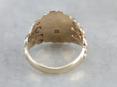 Victorian Ornate Scrolling Gold Signet Ring