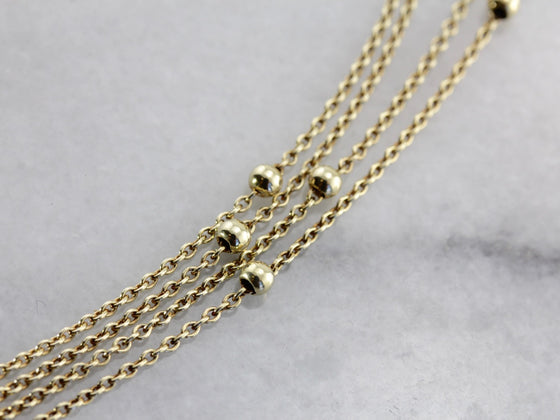Beaded Yellow Gold Station Chain or Necklace