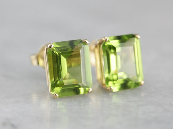 Peridot Emerald Cut Gold Stud Earrings