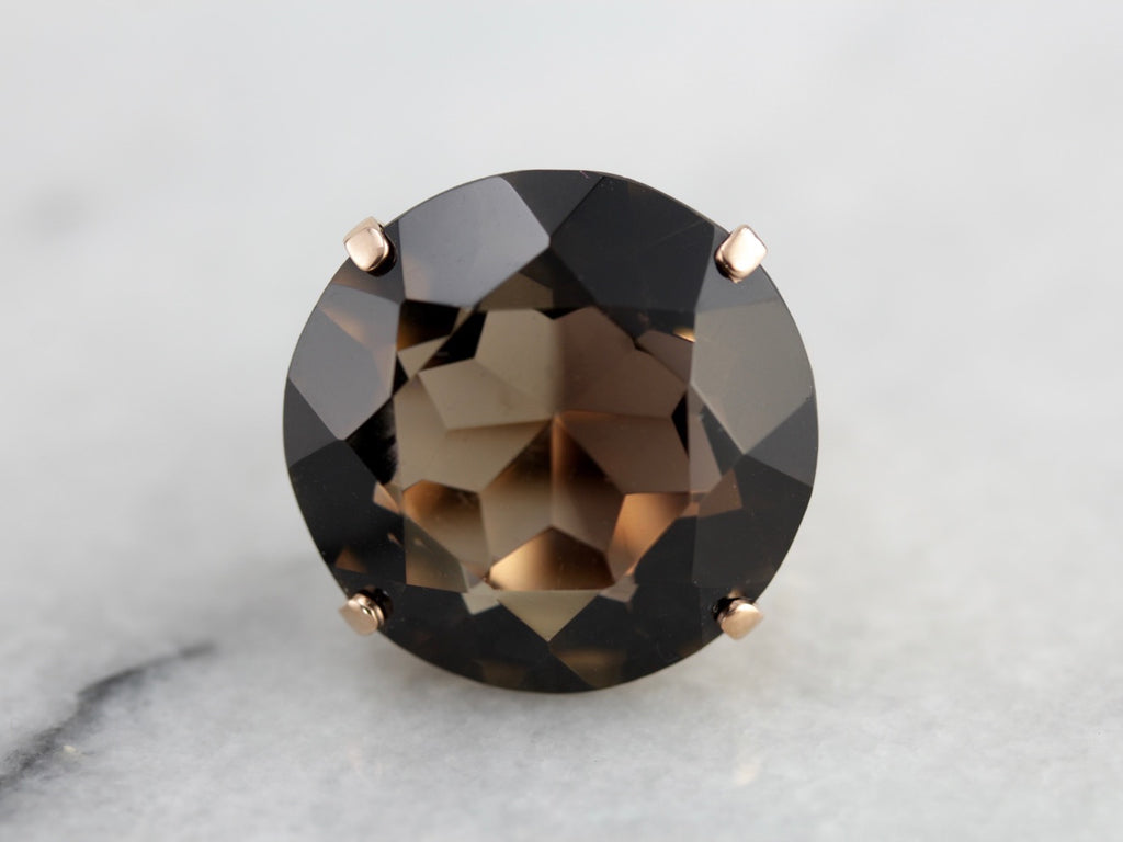 Fantastic Oversized Smoky Quartz Cocktail Ring, Filigree Rose Gold Solitaire Setting