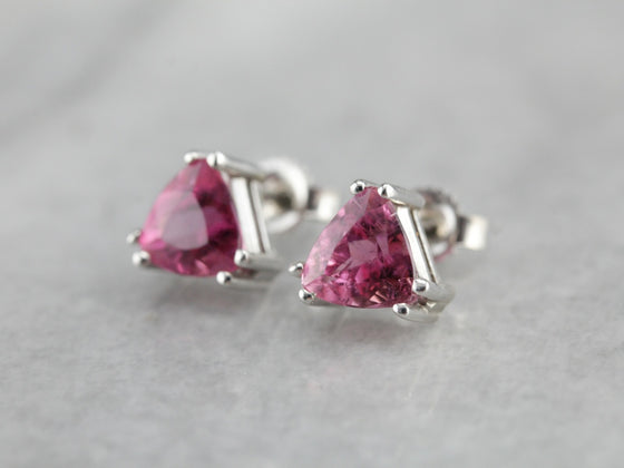 Pink Tourmaline Trillion Stud Earrings
