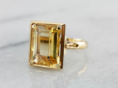 So Very Mod: 1960's Citrine Cocktail Ring in Yellow Gold