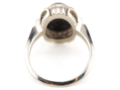 Black Onyx Cabochon in White Gold Ring, Hadley Ring by Elizabeth Henry