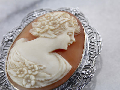 Classic White Gold Filigree Art Deco Cameo Brooch