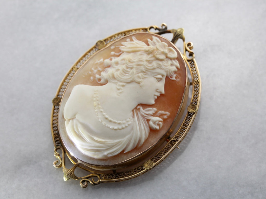 Art Nouveau Era Filigree Pendant or Brooch with Fine Shell Cameo