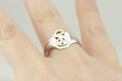 Sleek S Monogramed Two Tone Signet Ring
