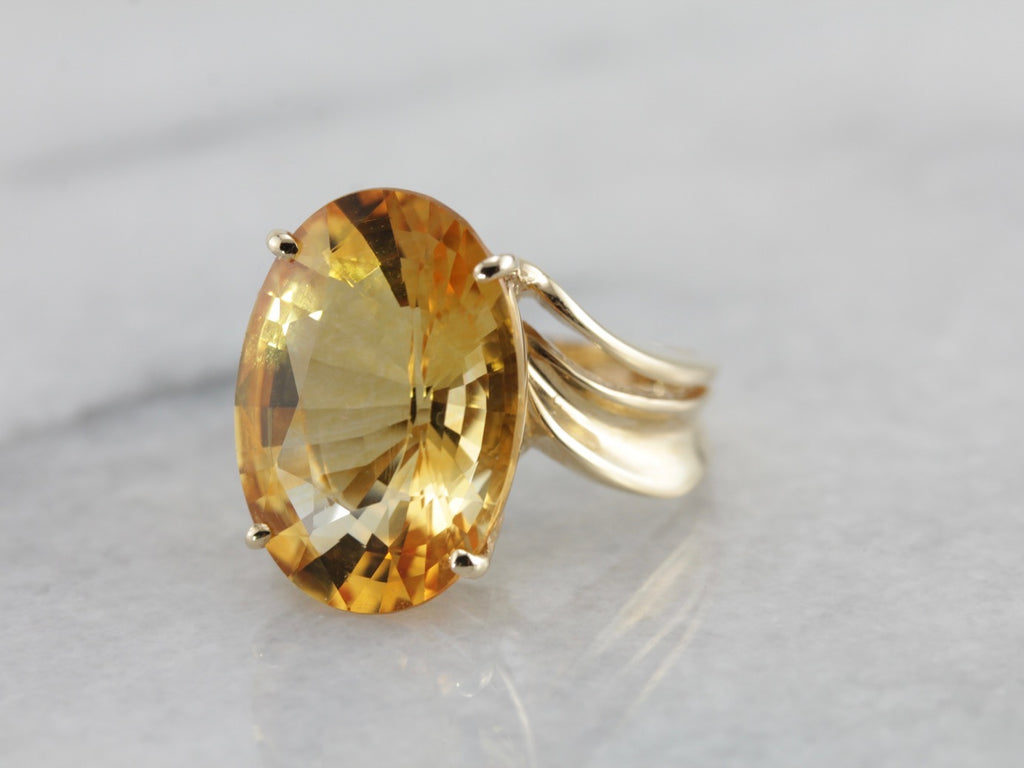 Mid Century Modern Large Citrine Cocktail Ring