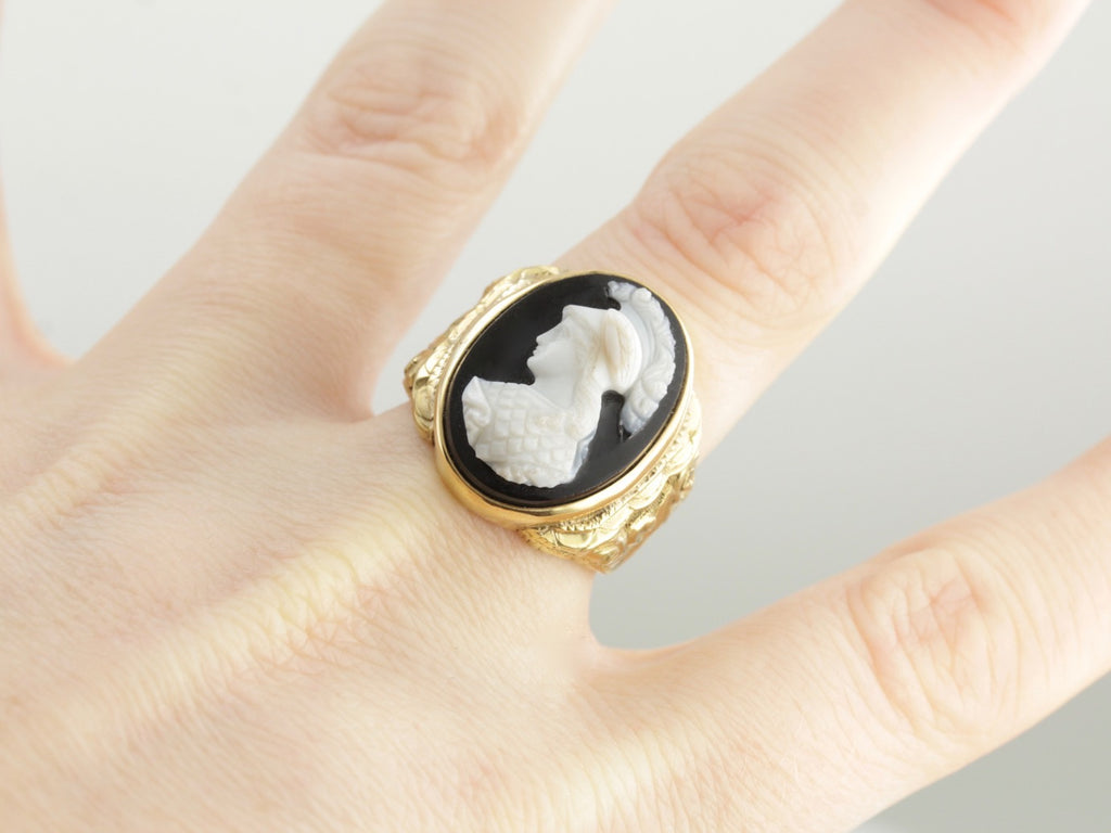 Intricate Victorian Hardstone Cameo Statement Ring in Yellow Gold