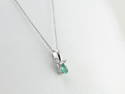 Emerald Pendant with Simple Diamond Accents in White Gold