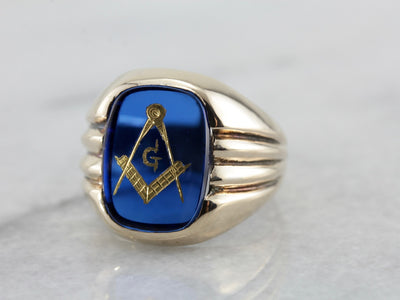 Men's Retro Era Blue Glass Masonic Ring