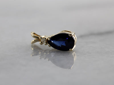 Classic Sapphire and Diamond Drop Pendant, Perfect for Layering