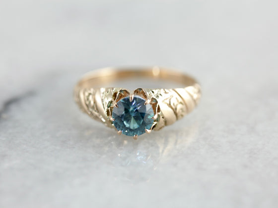 Victorian Blue Zircon Solitaire, Lovely Alternative Engagement Ring