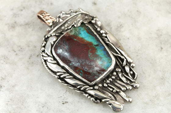 Mother Nature's Abstract Art: Chrysocolla and Modernist Sterling Pendant