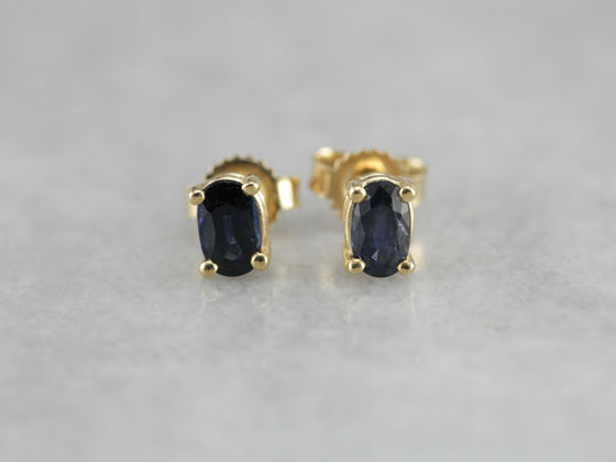 Oval Sapphire Gold Stud Earrings