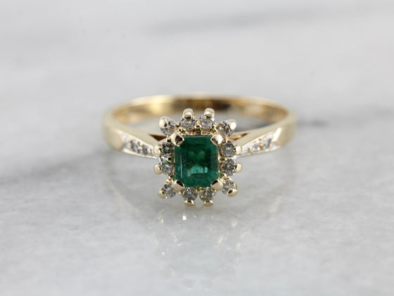 Emerald Dinner Ring with Diamond Halo in Yellow Gold