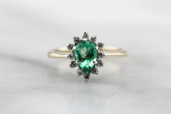 Stunning Emerald and Diamond Halo Right Hand Ring