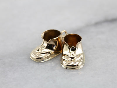 Vintage Baby Booties Charm in Yellow Gold