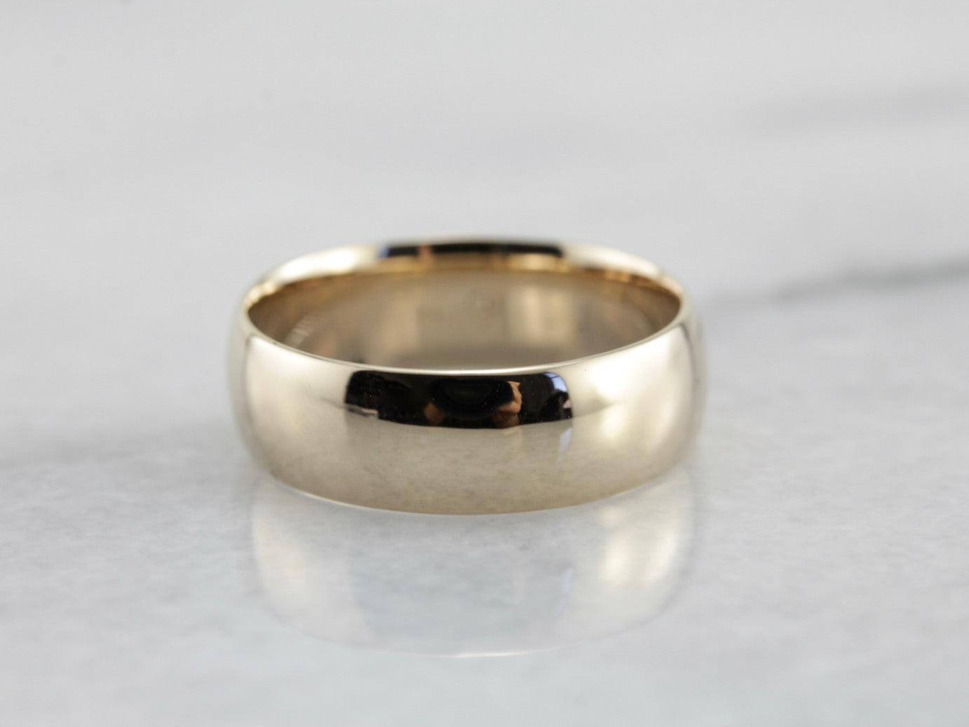 Vintage Wide Plain Yellow Gold Wedding Band