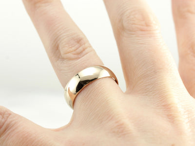 Vintage, Wide, Plain Yellow Gold Wedding Band