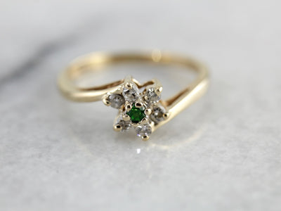 Dainty Demantoid Garnet and Diamond Flower Ring, Bypass Style