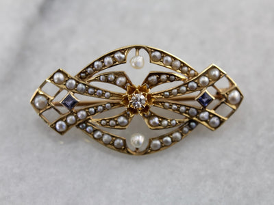 Seed Pearl and Sapphire Ornate Brooch